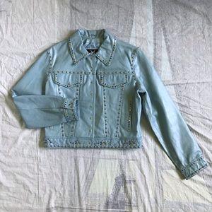 Vintage Baby Blue Leather Jacket